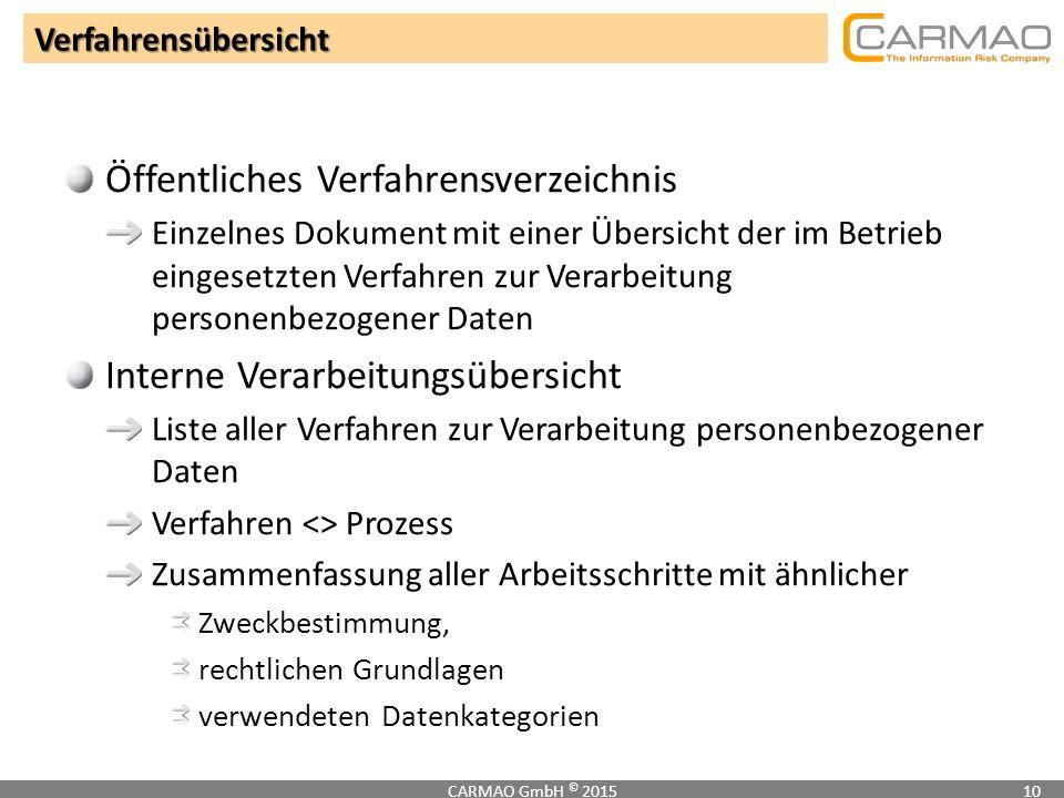 Verfahrensübersicht CARMAO GmbH © 201510 Öffentliches Verfahrensverzeichnis Einzelnes Dokument mit einer Übersicht der im Betrieb eingesetzten Verfahr