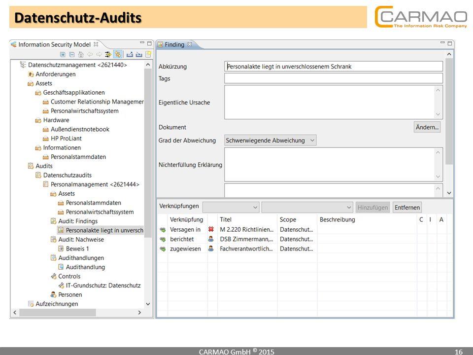 Datenschutz-Audits CARMAO GmbH © 201516