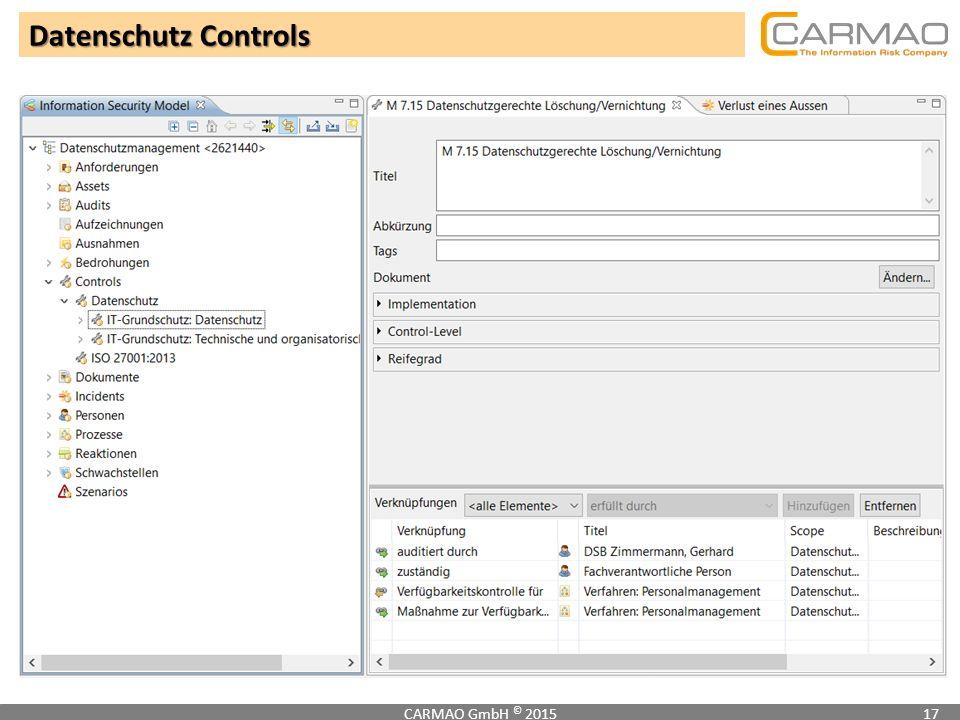 Datenschutz Controls CARMAO GmbH © 201517