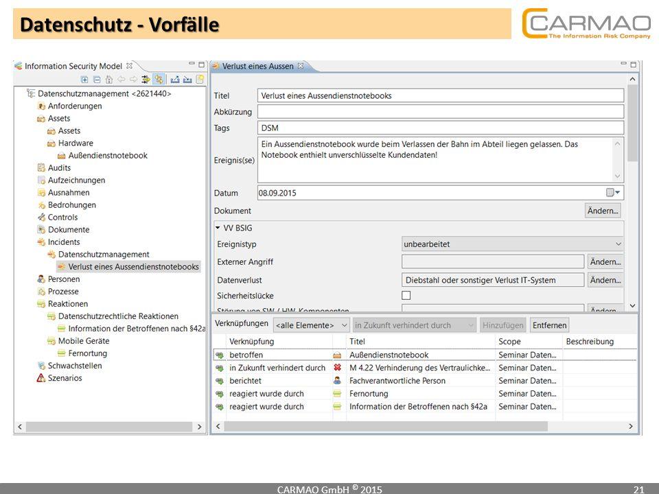 Datenschutz - Vorfälle CARMAO GmbH © 201521