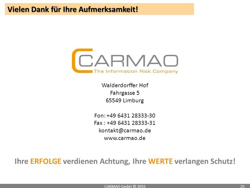 Vielen Dank für Ihre Aufmerksamkeit! CARMAO GmbH © 201525 Walderdorffer Hof Fahrgasse 5 65549 Limburg Fon:+49 6431 28333-30 Fax : +49 6431 28333-31 ko