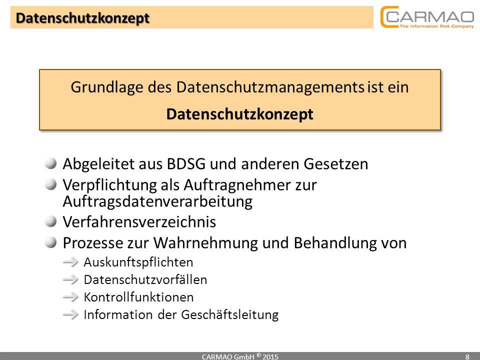 Datenschutzkonzept CARMAO GmbH © 20158 Grundlage des Datenschutzmanagements ist ein Datenschutzkonzept Abgeleitet aus BDSG und anderen Gesetzen Verpfl