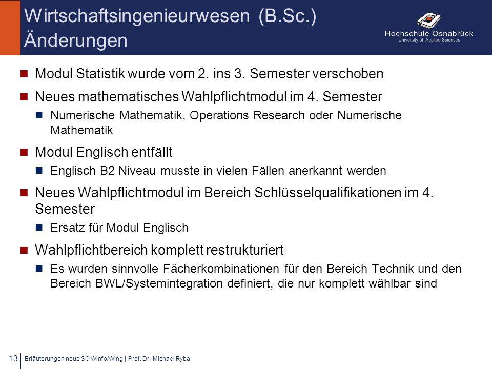 Wirtschaftsingenieurwesen (B.Sc.) Änderungen Modul Statistik wurde vom 2. ins 3. Semester verschoben Neues mathematisches Wahlpflichtmodul im 4. Semes