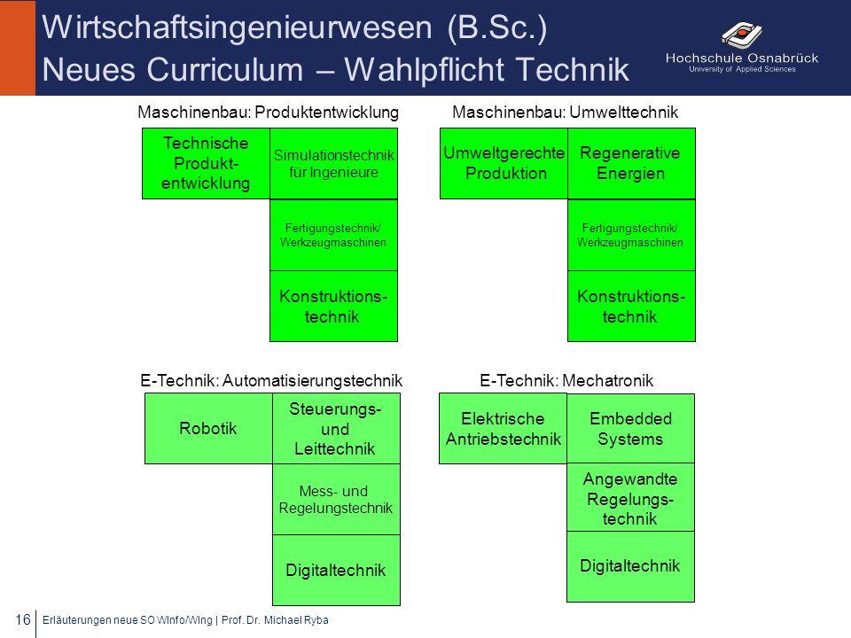 Wirtschaftsingenieurwesen (B.Sc.) Neues Curriculum – Wahlpflicht Technik Erläuterungen neue SO WInfo/WIng | Prof. Dr. Michael Ryba 16 Steuerungs- und
