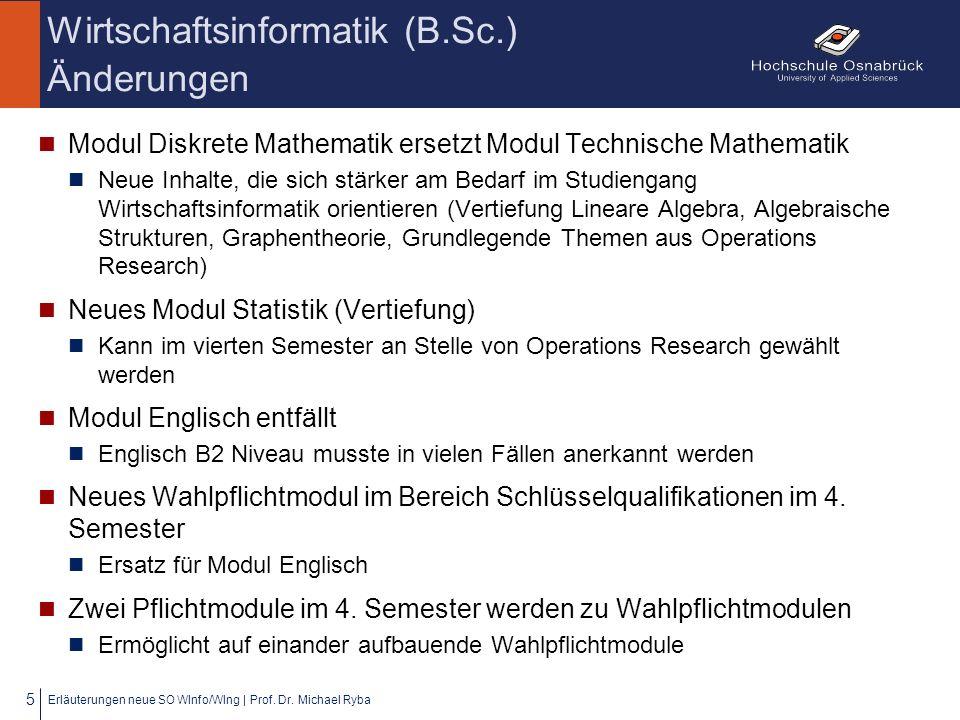 Wirtschaftsinformatik (B.Sc.) Änderungen Modul Diskrete Mathematik ersetzt Modul Technische Mathematik Neue Inhalte, die sich stärker am Bedarf im Stu