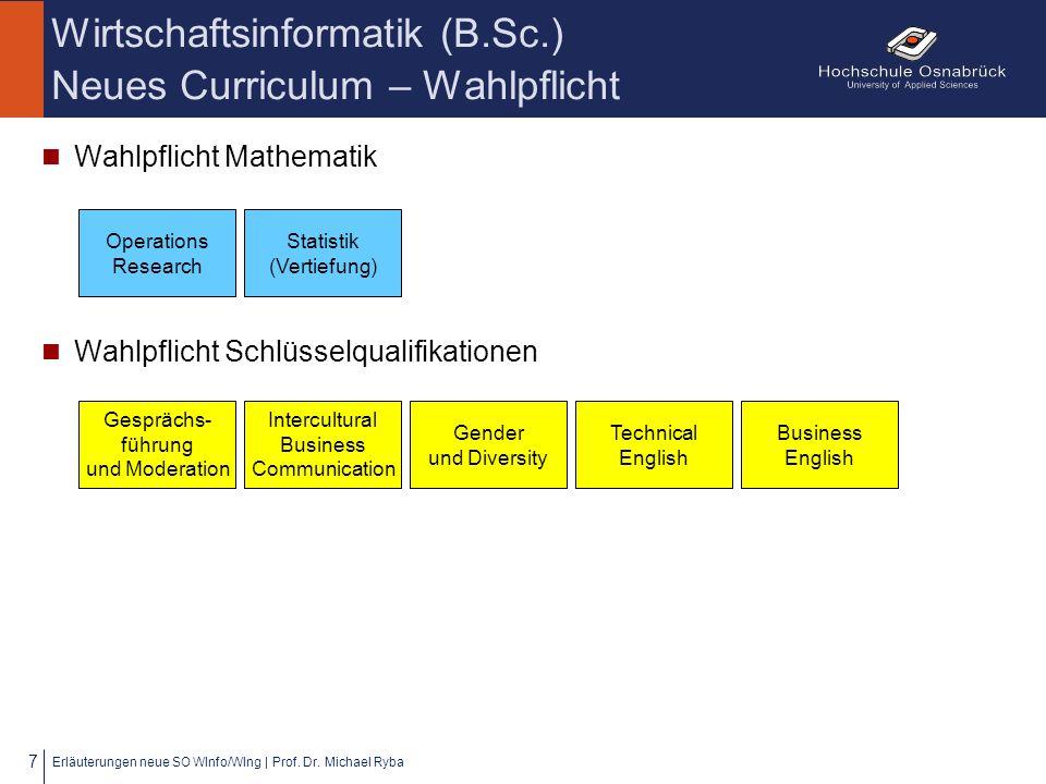 Wirtschaftsinformatik (B.Sc.) Neues Curriculum – Wahlpflicht Bereich Informatik/Wirtschaftsinformatik Erläuterungen neue SO WInfo/WIng   Prof.