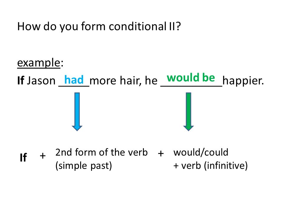 How do you form conditional II. example: If Jason _____more hair, he __________happier.