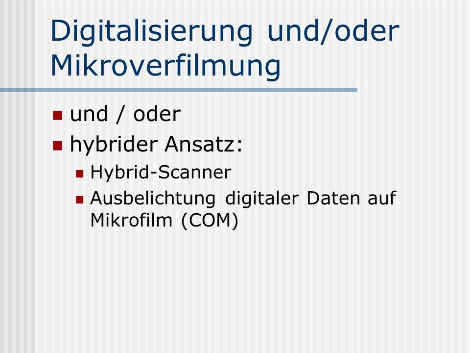 Digitalisierung und/oder Mikroverfilmung und / oder hybrider Ansatz: Hybrid-Scanner Ausbelichtung digitaler Daten auf Mikrofilm (COM)