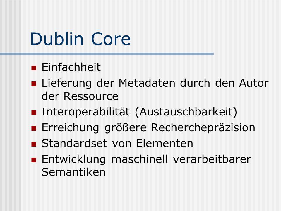 Dublin Core Einfachheit Lieferung der Metadaten durch den Autor der Ressource Interoperabilität (Austauschbarkeit) Erreichung größere Recherchepräzision Standardset von Elementen Entwicklung maschinell verarbeitbarer Semantiken