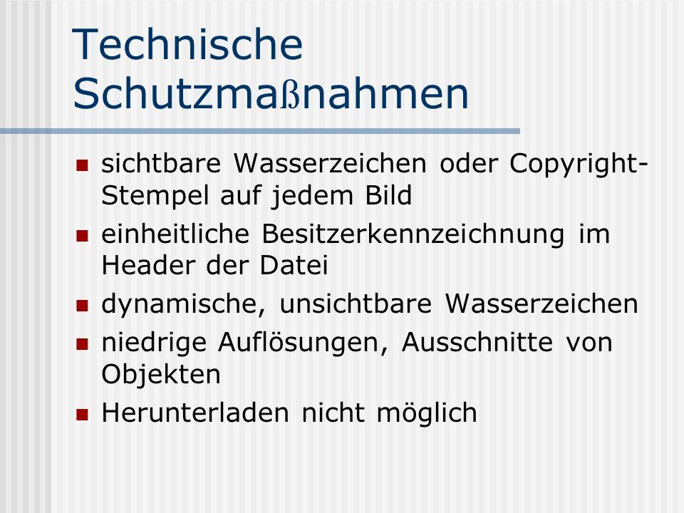 Technische Schutzma ß nahmen sichtbare Wasserzeichen oder Copyright- Stempel auf jedem Bild einheitliche Besitzerkennzeichnung im Header der Datei dynamische, unsichtbare Wasserzeichen niedrige Auflösungen, Ausschnitte von Objekten Herunterladen nicht möglich