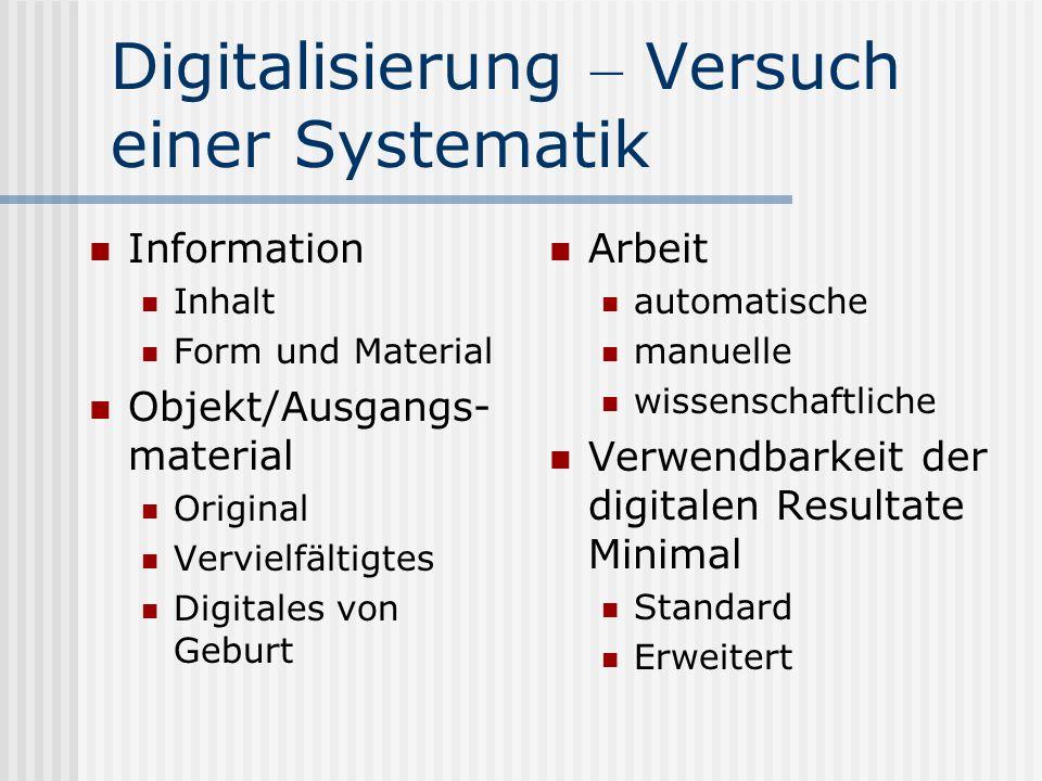Gründe für das Digitalisieren Digitaler Lesesaal: Verbesserung der Zugänglichkeit Schonung der Objekte Bestandsicherung Digitalisierung on Demand