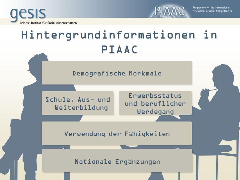 Hintergrundinformationen in PIAAC Demografische Merkmale Schule, Aus- und Weiterbildung Erwerbsstatus und beruflicher Werdegang Verwendung der Fähigke