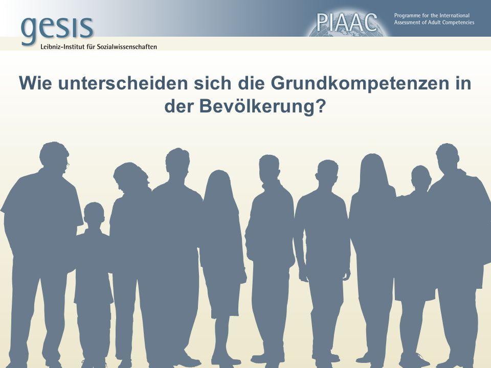 Wie unterscheiden sich die Grundkompetenzen in der Bevölkerung?