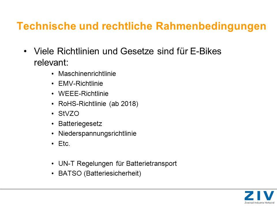 Technische und rechtliche Rahmenbedingungen Viele Richtlinien und Gesetze sind für E-Bikes relevant: Maschinenrichtlinie EMV-Richtlinie WEEE-Richtlini
