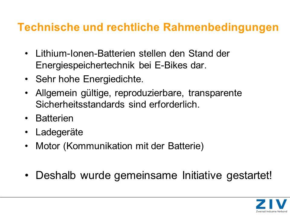 Technische und rechtliche Rahmenbedingungen Lithium-Ionen-Batterien stellen den Stand der Energiespeichertechnik bei E-Bikes dar. Sehr hohe Energiedic