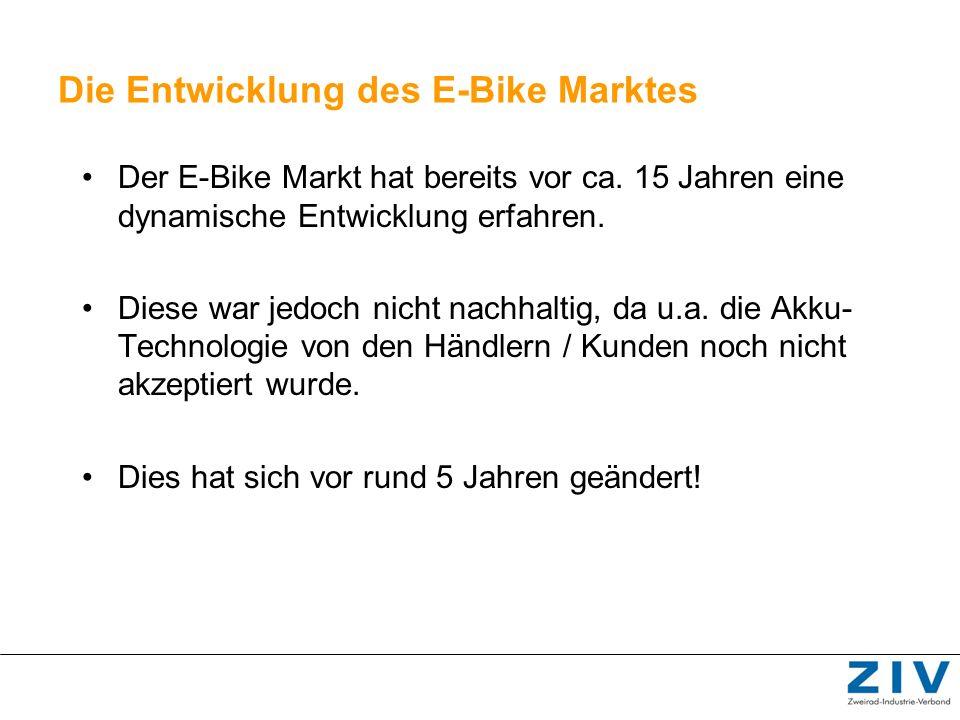 Die Entwicklung des E-Bike Marktes Der E-Bike Markt hat bereits vor ca. 15 Jahren eine dynamische Entwicklung erfahren. Diese war jedoch nicht nachhal