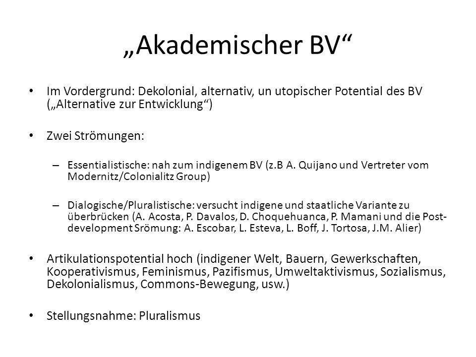 """""""Akademischer BV"""" Im Vordergrund: Dekolonial, alternativ, un utopischer Potential des BV (""""Alternative zur Entwicklung"""") Zwei Strömungen: – Essentiali"""
