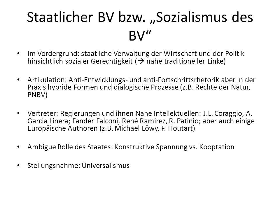 """Staatlicher BV bzw. """"Sozialismus des BV"""" Im Vordergrund: staatliche Verwaltung der Wirtschaft und der Politik hinsichtlich sozialer Gerechtigkeit ( """