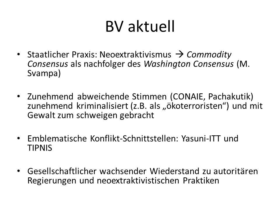 BV aktuell Staatlicher Praxis: Neoextraktivismus  Commodity Consensus als nachfolger des Washington Consensus (M. Svampa) Zunehmend abweichende Stimm