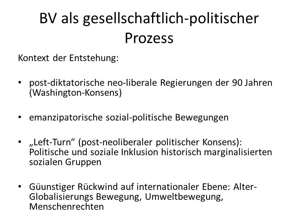 BV als gesellschaftlich-politischer Prozess Kontext der Entstehung: post-diktatorische neo-liberale Regierungen der 90 Jahren (Washington-Konsens) ema