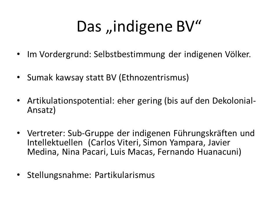 """Das """"indigene BV"""" Im Vordergrund: Selbstbestimmung der indigenen Völker. Sumak kawsay statt BV (Ethnozentrismus) Artikulationspotential: eher gering ("""
