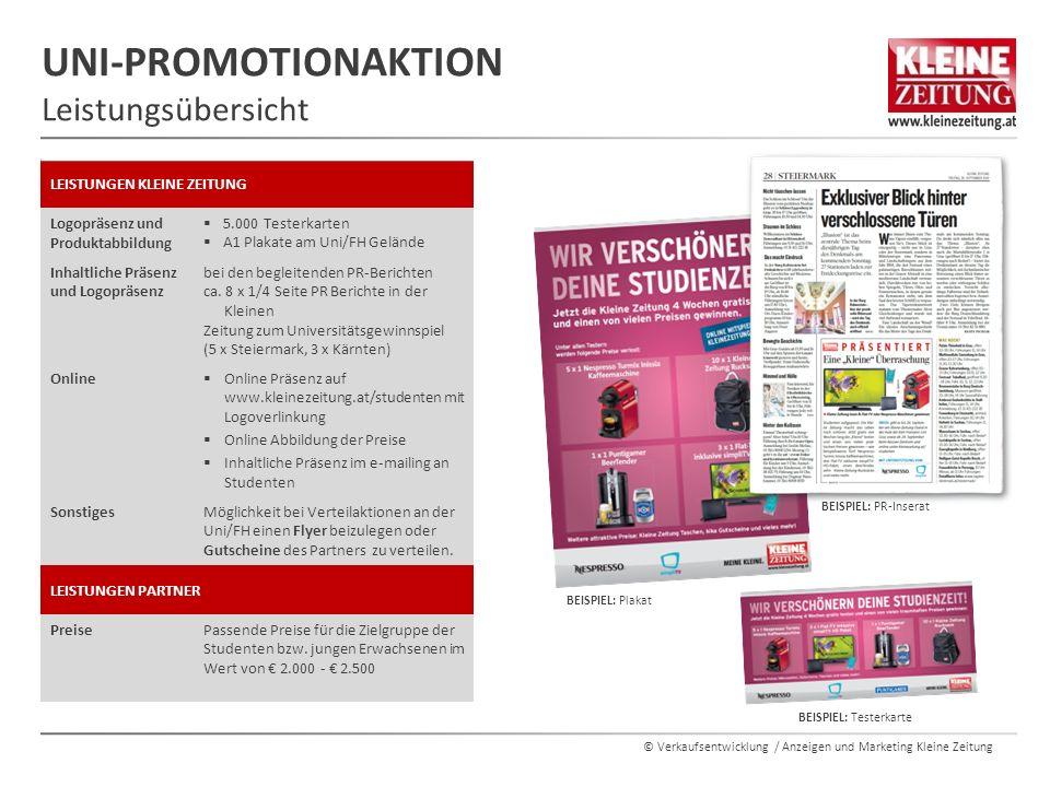 © Verkaufsentwicklung / Anzeigen und Marketing Kleine Zeitung UNI-PROMOTIONAKTION Leistungsübersicht BEISPIEL: Testerkarte BEISPIEL: Plakat BEISPIEL: