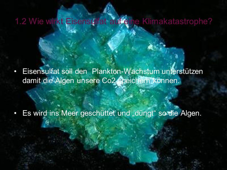 1.2 Wie wirkt Eisensulfat auf eine Klimakatastrophe? Eisensulfat soll den Plankton-Wachstum unterstützen damit die Algen unsere Co2 speichern können.
