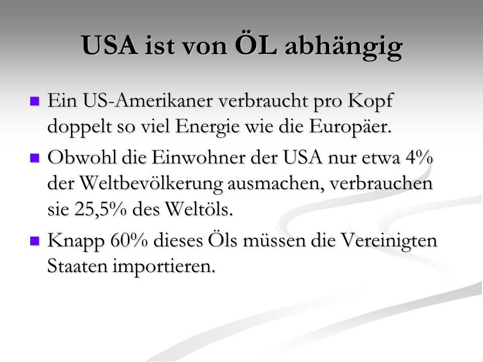 USA ist von ÖL abhängig Ein US-Amerikaner verbraucht pro Kopf doppelt so viel Energie wie die Europäer. Ein US-Amerikaner verbraucht pro Kopf doppelt