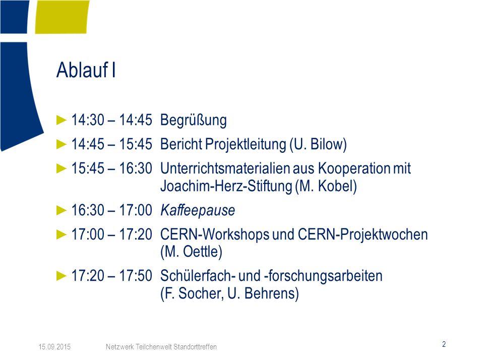 Ablauf I 2 ► 14:30 – 14:45Begrüßung ► 14:45 – 15:45Bericht Projektleitung (U.