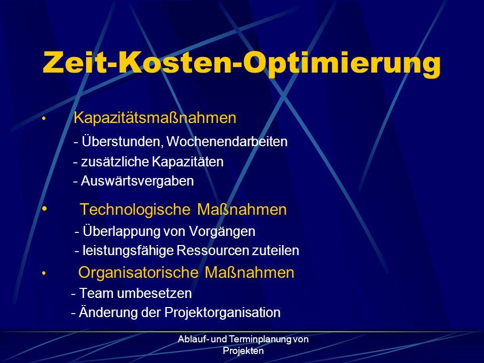 Ablauf- und Terminplanung von Projekten Zeit-Kosten-Optimierung Kapazitätsmaßnahmen - Überstunden, Wochenendarbeiten - zusätzliche Kapazitäten - Auswä