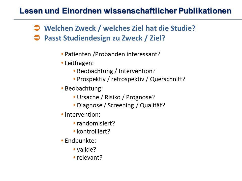 Lesen und Einordnen wissenschaftlicher Publikationen Patienten /Probanden interessant? Leitfragen: Beobachtung / Intervention? Prospektiv / retrospekt