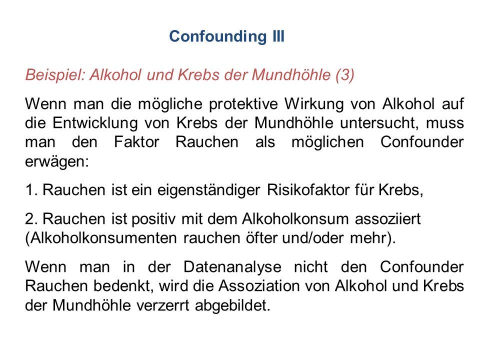 Confounding III Beispiel: Alkohol und Krebs der Mundhöhle (3) Wenn man die mögliche protektive Wirkung von Alkohol auf die Entwicklung von Krebs der M