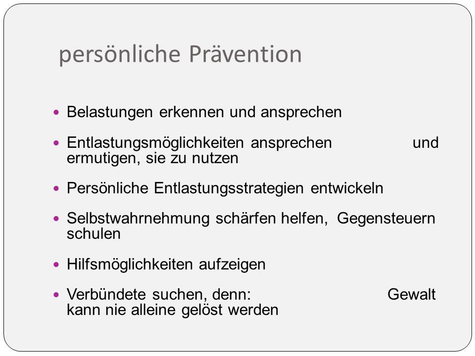 persönliche Prävention Belastungen erkennen und ansprechen Entlastungsmöglichkeiten ansprechen und ermutigen, sie zu nutzen Persönliche Entlastungsstrategien entwickeln Selbstwahrnehmung schärfen helfen, Gegensteuern schulen Hilfsmöglichkeiten aufzeigen Verbündete suchen, denn: Gewalt kann nie alleine gelöst werden