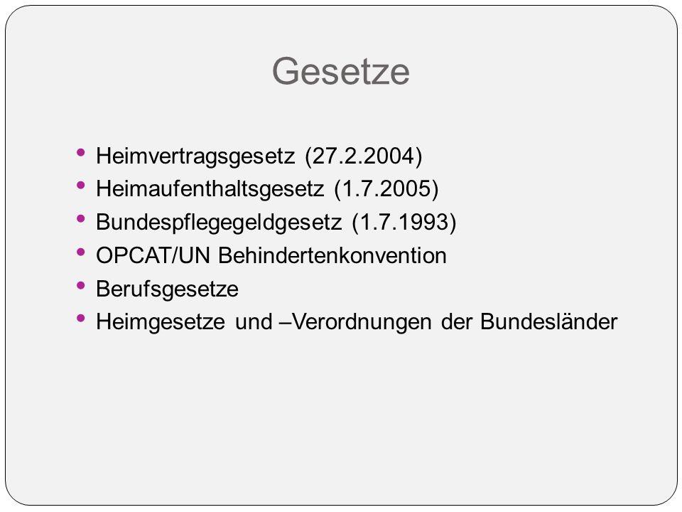 Gesetze Heimvertragsgesetz (27.2.2004) Heimaufenthaltsgesetz (1.7.2005) Bundespflegegeldgesetz (1.7.1993) OPCAT/UN Behindertenkonvention Berufsgesetze Heimgesetze und –Verordnungen der Bundesländer