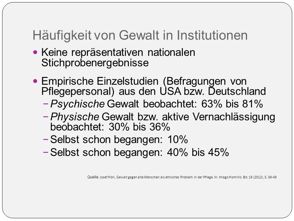Häufigkeit von Gewalt in Institutionen Keine repräsentativen nationalen Stichprobenergebnisse Empirische Einzelstudien (Befragungen von Pflegepersonal) aus den USA bzw.