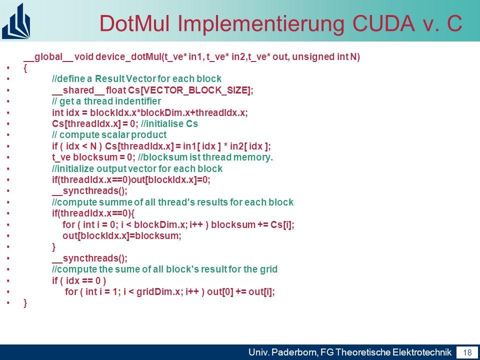 18 Univ. Paderborn, FG Theoretische Elektrotechnik 18 DotMul Implementierung CUDA v. C __global__ void device_dotMul(t_ve* in1, t_ve* in2,t_ve* out, u