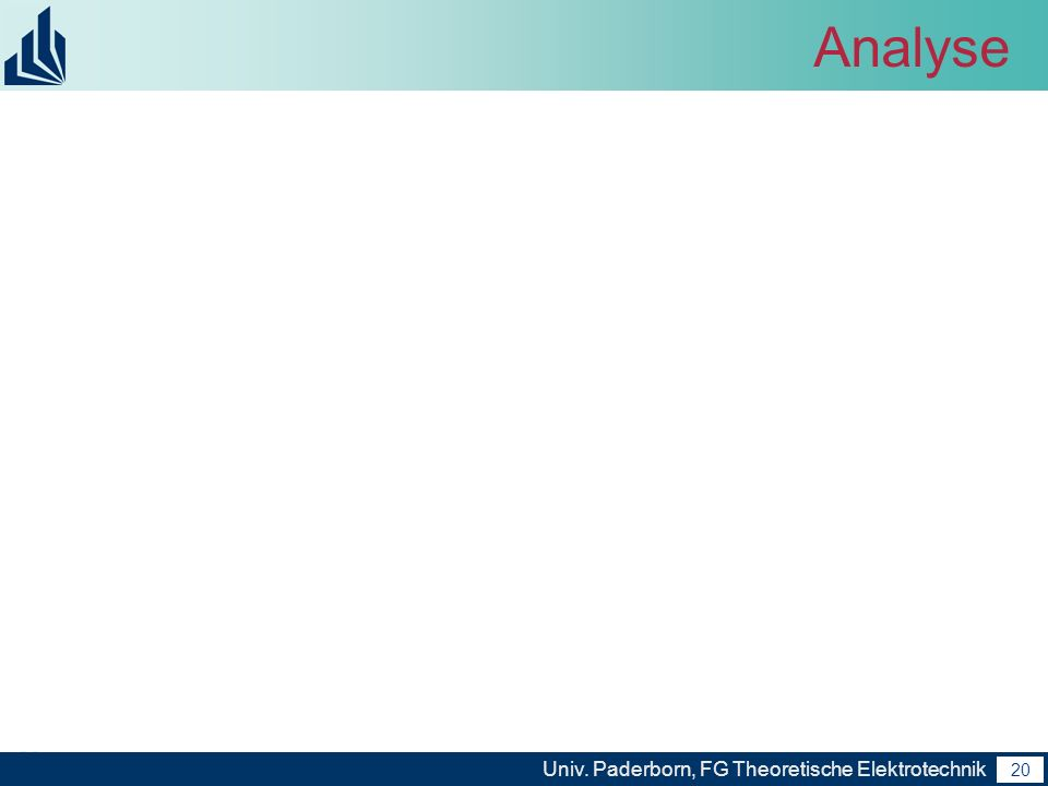 20 Univ. Paderborn, FG Theoretische Elektrotechnik 20 Analyse