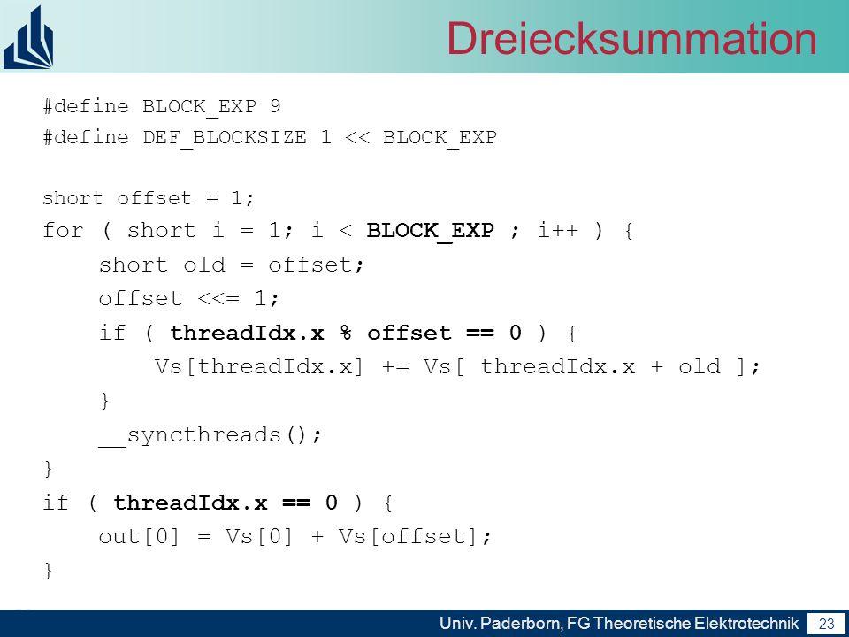 23 Univ. Paderborn, FG Theoretische Elektrotechnik 23 Dreiecksummation #define BLOCK_EXP 9 #define DEF_BLOCKSIZE 1 << BLOCK_EXP short offset = 1; for