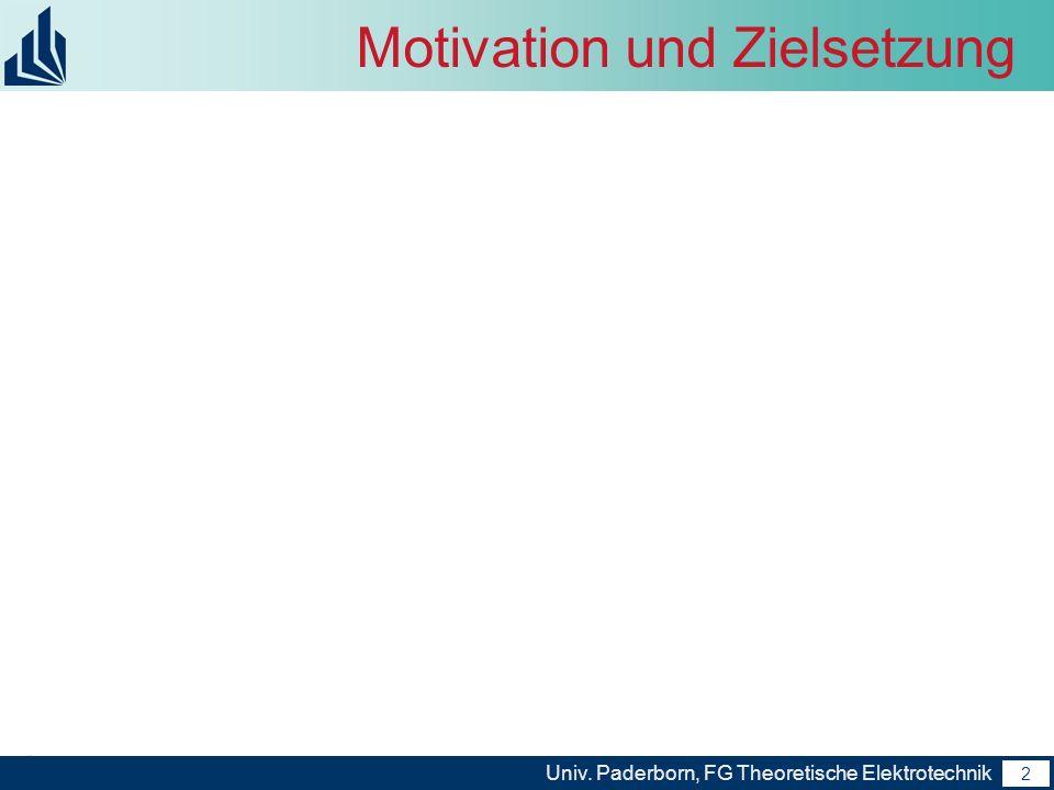 2 Univ. Paderborn, FG Theoretische Elektrotechnik 2 Motivation und Zielsetzung