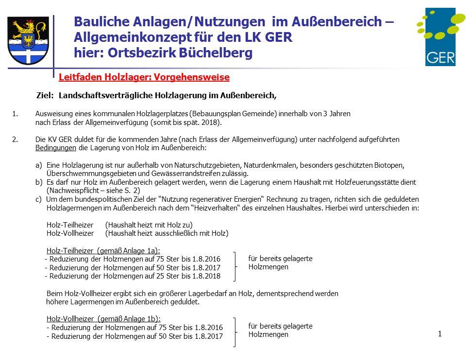 Bauliche Anlagen/Nutzungen im Außenbereich – Allgemeinkonzept für den LK GER hier: Ortsbezirk Büchelberg Leitfaden Holzlager: Vorgehensweise Ziel: Lan