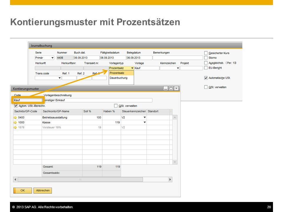 ©2013 SAP AG. Alle Rechte vorbehalten.20 Kontierungsmuster mit Prozentsätzen