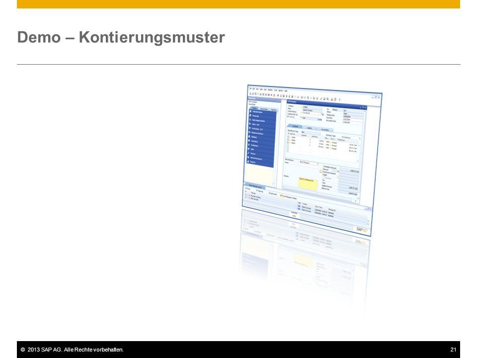 ©2013 SAP AG. Alle Rechte vorbehalten.21 Demo – Kontierungsmuster