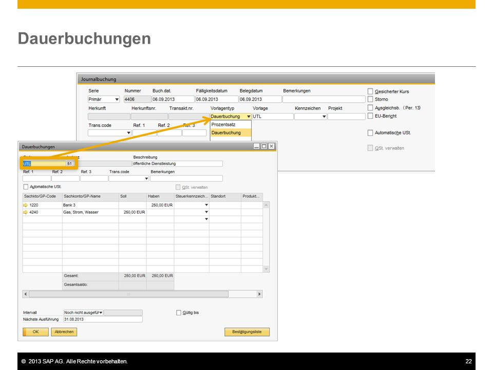 ©2013 SAP AG. Alle Rechte vorbehalten.22 Dauerbuchungen