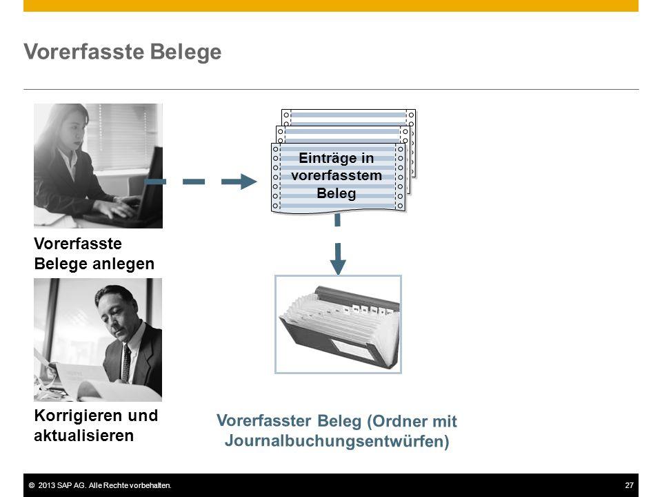 ©2013 SAP AG. Alle Rechte vorbehalten.27 Vorerfasste Belege Vorerfasste Belege anlegen Korrigieren und aktualisieren Einträge in vorerfasste m Beleg V