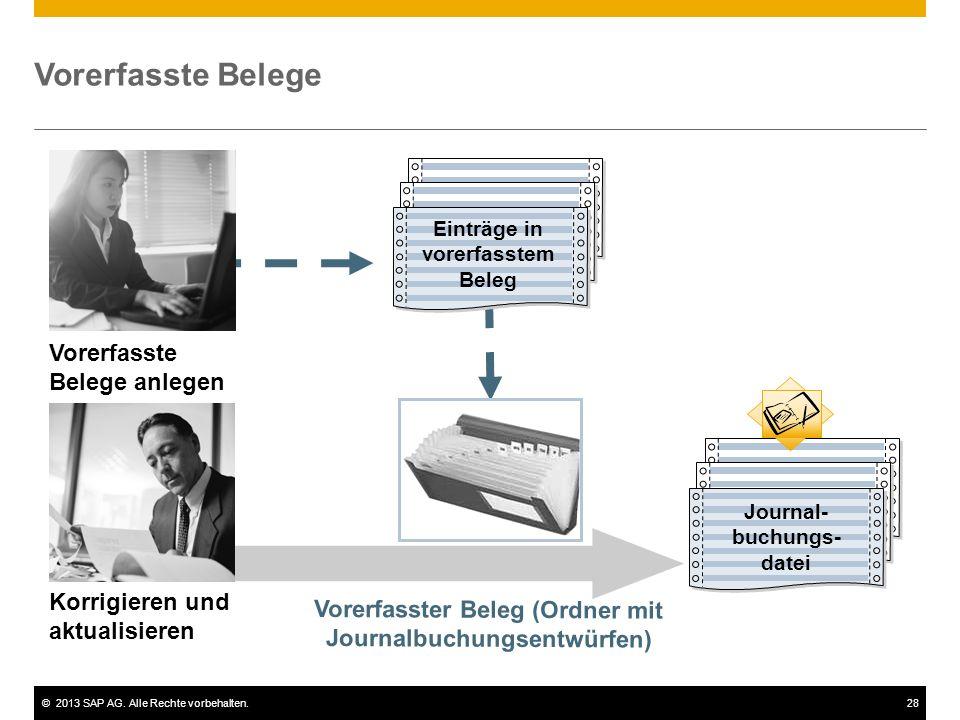 ©2013 SAP AG. Alle Rechte vorbehalten.28 Journalbuchu ngsdatei Vorerfasste Belege Vorerfasste Belege anlegen Korrigieren und aktualisieren Einträge in