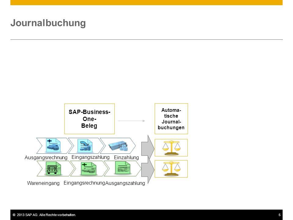 ©2013 SAP AG. Alle Rechte vorbehalten.5 Journalbuchung SAP-Business- One- Beleg Automa- tische Journal- buchungen Ausgangsrechnung Eingangszahlung Ein