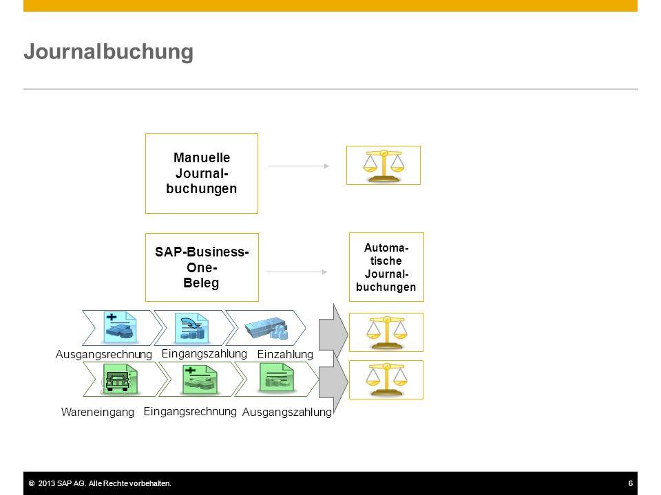 ©2013 SAP AG. Alle Rechte vorbehalten.6 Journalbuchung Manuelle Journal- buchungen SAP-Business- One- Beleg Automa- tische Journal- buchungen Ausgangs