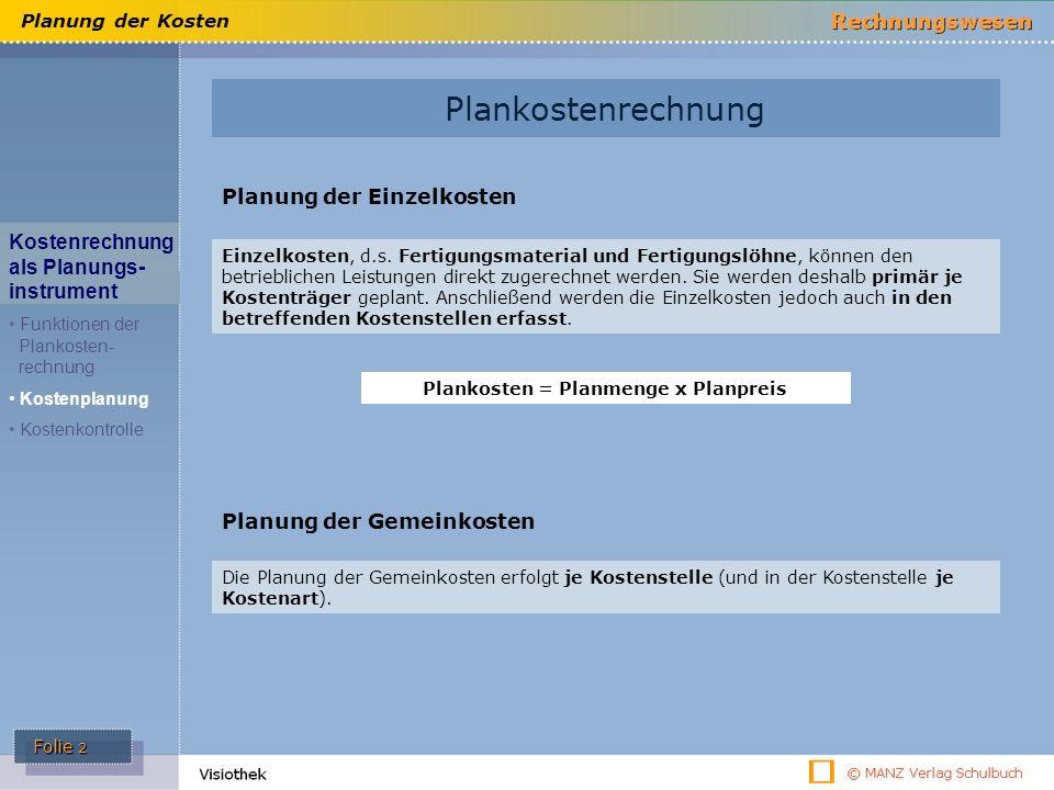 Folie 2 Planung der Kosten Planung der Einzelkosten Einzelkosten, d.s.