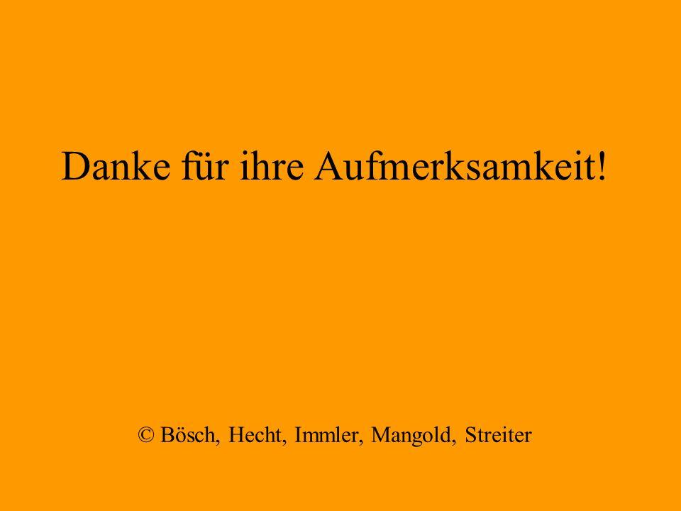 Danke für ihre Aufmerksamkeit! © Bösch, Hecht, Immler, Mangold, Streiter