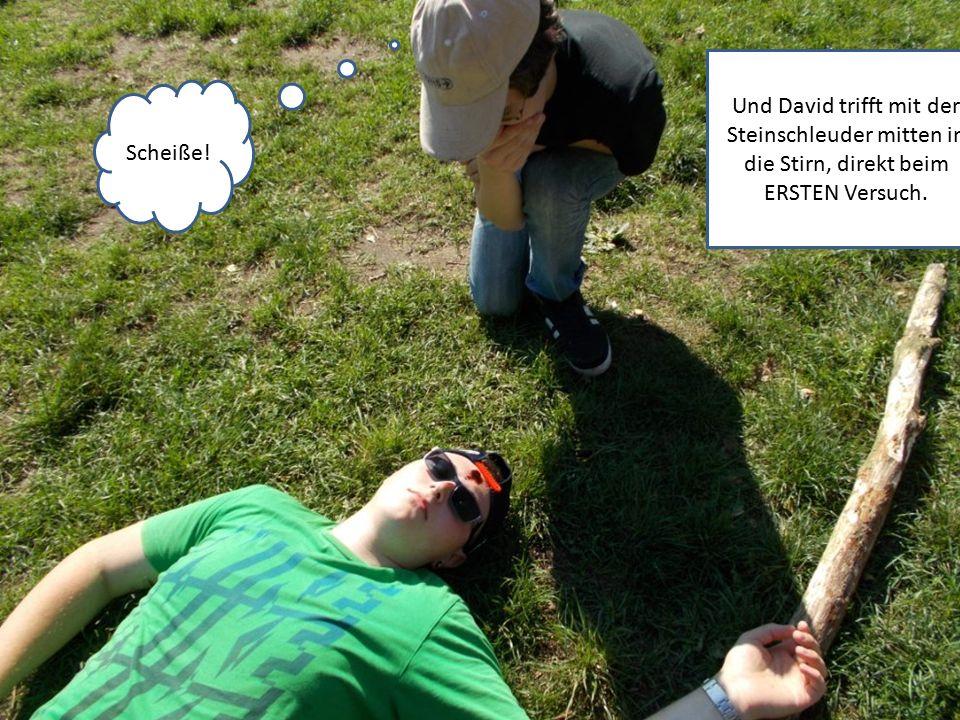 Scheiße! Und David trifft mit der Steinschleuder mitten in die Stirn, direkt beim ERSTEN Versuch.